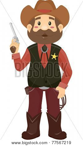 Illustration Featuring a Man Wearing a Sheriff's Costume Holding a Revolver