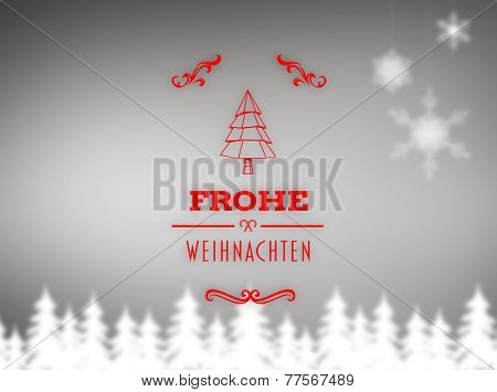 Frohe weihnachten banner against blurred fir tree background