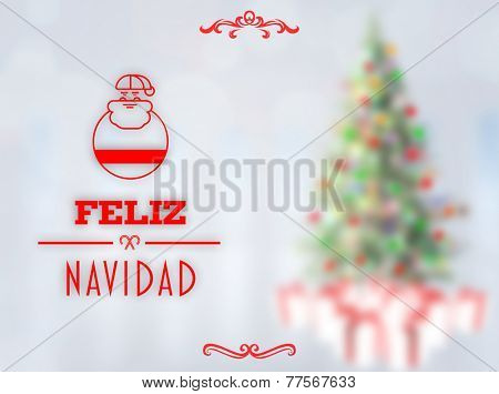 Feliz navidad banner against blurry christmas tree in room