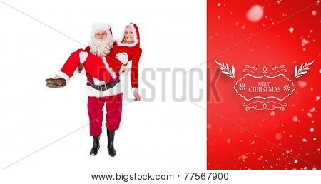 Santa and Mrs Claus smiling at camera against red vignette