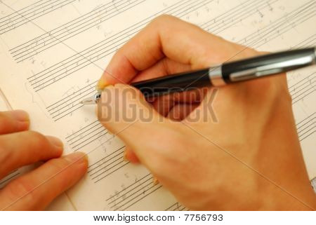 Composing Music On Old Manuscript