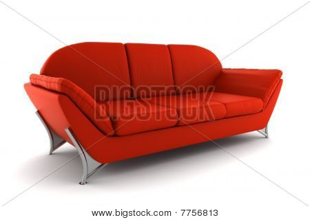 red leather sofa isolated on white background with clipping path
