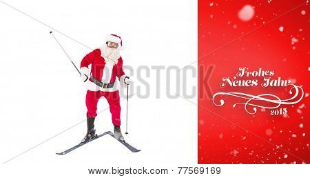 Portrait of happy santa claus skiing against red vignette