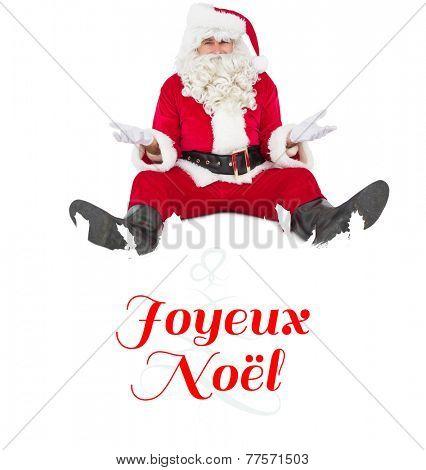 Doubtful santa sitting alone against Christmas greeting card