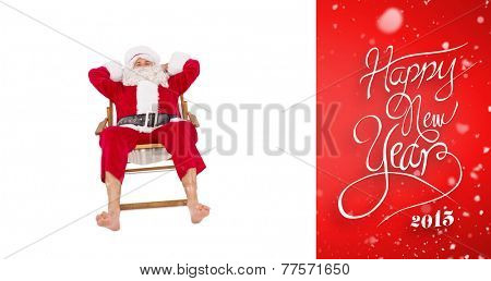 Happy santa relaxing on deckchair against red vignette