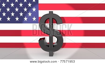 Dollar Symbol In Spotlight