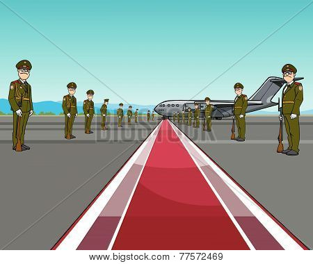Men In Uniform Standing On Opposite Sides Of The Red Carpet About Aircraft.eps