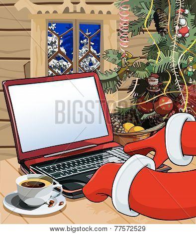 Cartoon Santa Claus Writes A Letter On The Laptop.eps