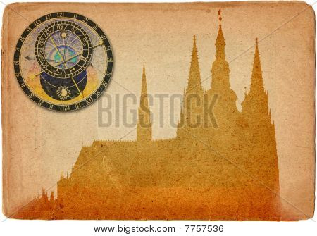 Prague Castle In Retro Style