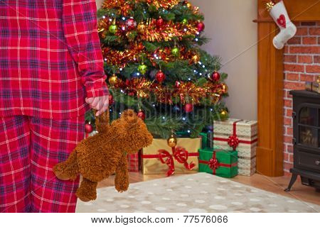 A little girl holding her teddy bear on Christmas morning, gift wrapped presents under the tree and a stocking over the fireplace. Focus is on the bear.
