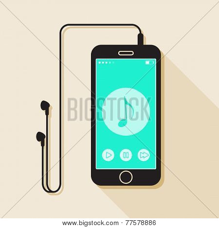 Illustration with a mobile phone. device in flat style with a musical player interface, headphones a