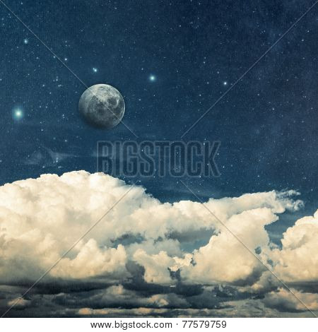 clouds and moon