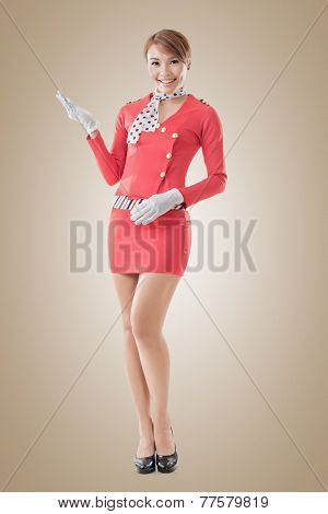 Asian flight attendant portrait, full length isolated.