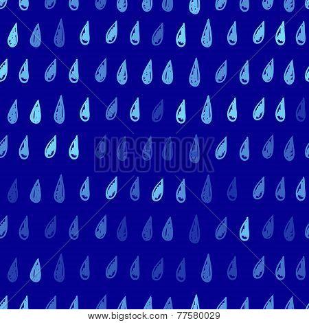 Vector hand drawn raindrops pattern