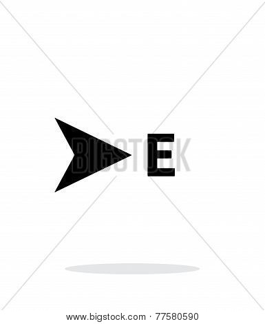 East direction compass icon on white background.
