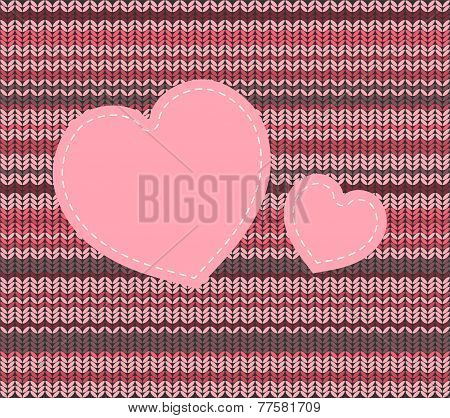Vector Knitted Pattern And Heart Applique