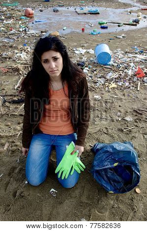 Young Ecologist Sad About Dirty Beach