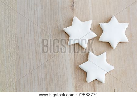 Cinnamon stars christmas cookies with text space