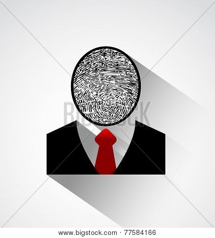 Person Silhouette Finger Print Head