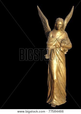 Golden gilt metal statuette of an angel
