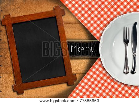 Menu With Blackboard And White Plate