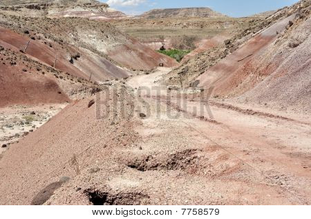 Road through Bentonite Hills near Capitol Reef