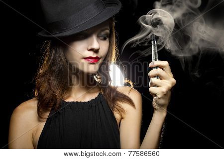 Woman Vaping E-Cigarette