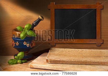 Wooden Blackboard In The Kitchen