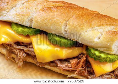 Baguette sandwich closeup