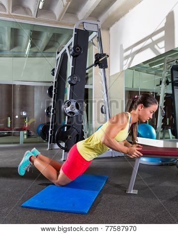 knees bench triceps push up push-up woman at gym workout exercise