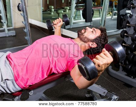 Dumbbell Incline Bench Flies opening arms workout exercise at gym