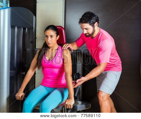 Dips press machine for triceps woman workout gym with personal trainer