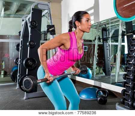 Barbell bent over row supine grip woman workout at gym exercise