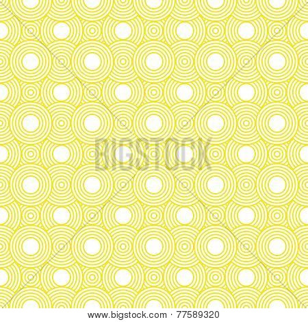 Yellow And White Circles Tiles Pattern Repeat Background