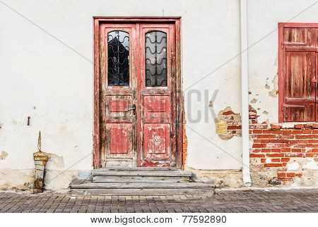 Old Door On Wall Background