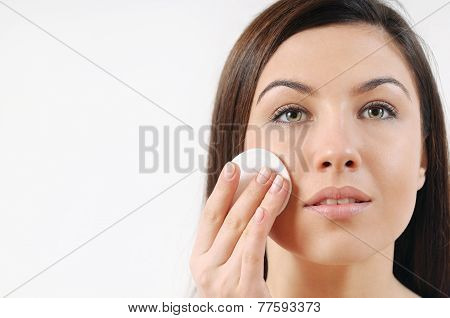 Close Up Portrait Of Beautiful Woman With Pure Healthy Sensitive Skin