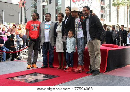 LOS ANGELES - DEC 4:  Helen Lasichanh, Rocket Williams, Pharrell Williams, Family at the Pharrell Williams Walk of Fame Star Ceremony at the W Hotel Hollywood on December 4, 2014 in Los Angeles, CA