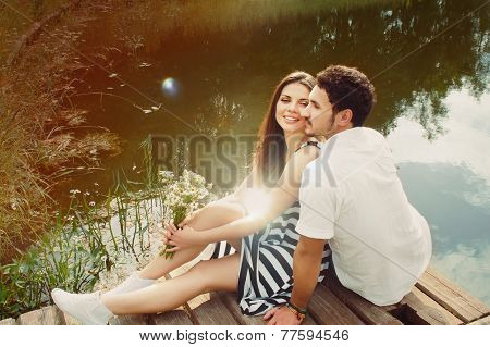 Sensual Romantic Couple In Love On Pier At The Lake In Summer Day, Harmony Concept