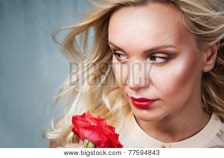 Sensual Tender Young Woman Portrait With Breeze Hair And Red Lips