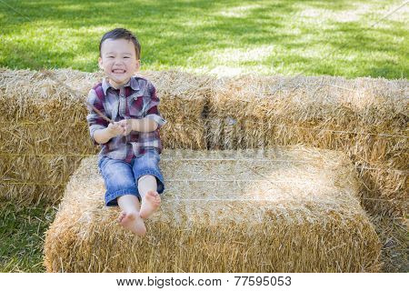 Cute Young Mixed Race Boy Having Fun on Hay Bale Outside.