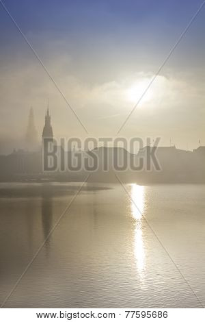 Dense Fog Over The Alster