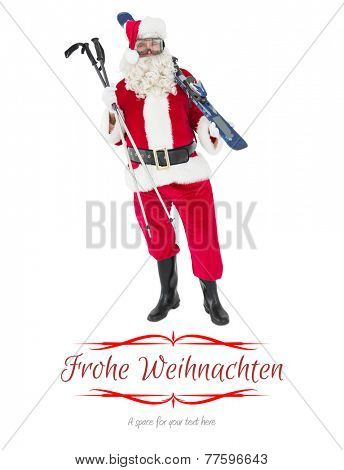 Santa claus holding ski and ski poles against border