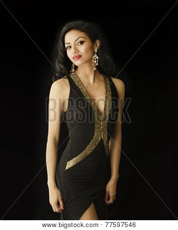 Beautiful elegant young woman wearing black dress