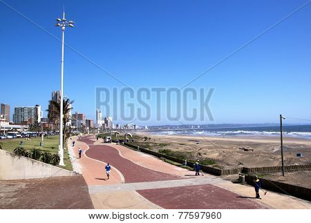 Above View Of Promenade On Durban Beach Front