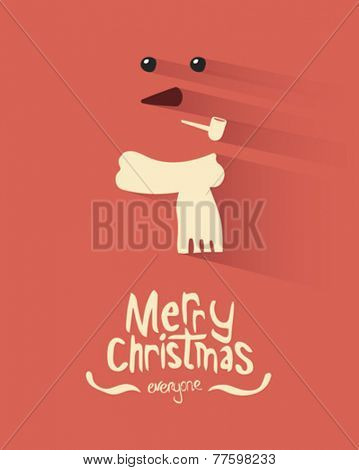 Digitally generated Merry christmas vector with snowman