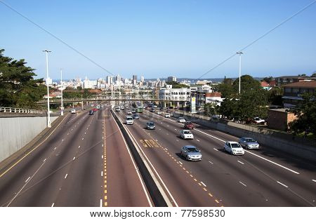 Western Freeway Leading To Durban Cbd Viewed From Tollgate Bridge