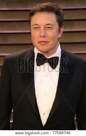 LOS ANGELES - MAR 2:  Elon Musk at the 2014 Vanity Fair Oscar Party at the Sunset Boulevard on March 2, 2014 in West Hollywood, CA