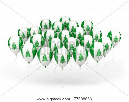 Balloons With Flag Of Norfolk Island