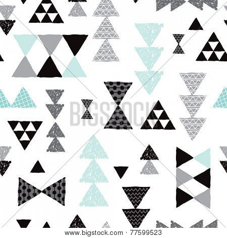 Seamless geometric tribal pastel triangle isolated on white hand drawn pastel background pattern in vector