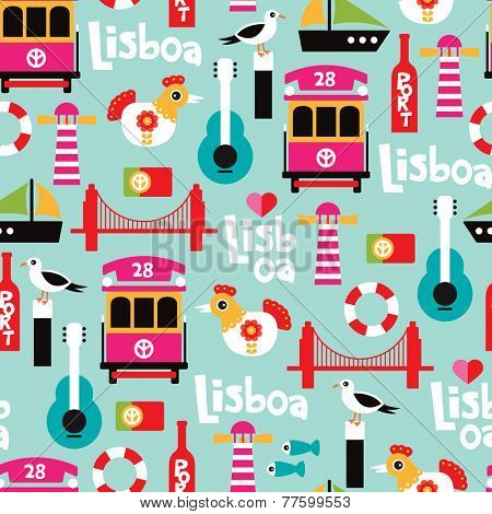 Seamless Portugal city of Lisbon travel icon illustration design background pattern in vector